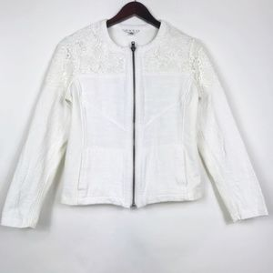Cabi Womens Size Medium Jacket White Lace Zip